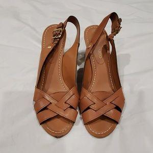 Braided leather wedge heels